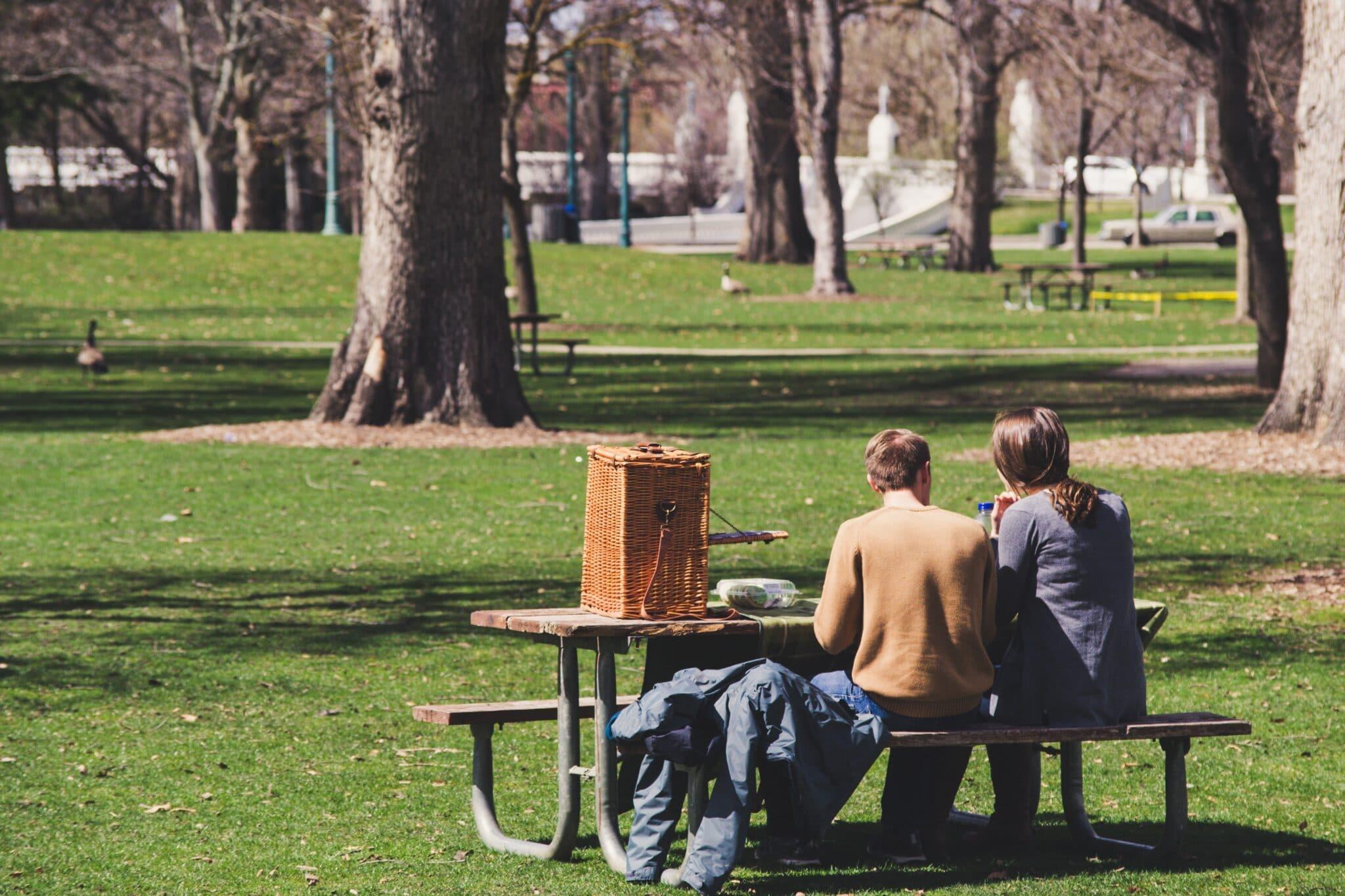 Teo people having a picnic at a park