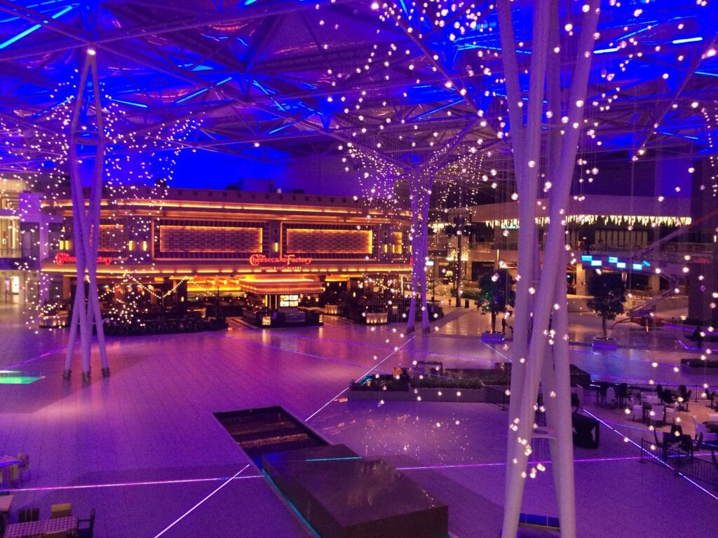 Empty event venue wiht lights